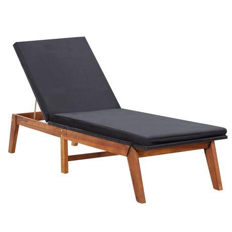vidaXL Espreguiçadeira com almofadão vime PE e madeira acácia maciça 45990