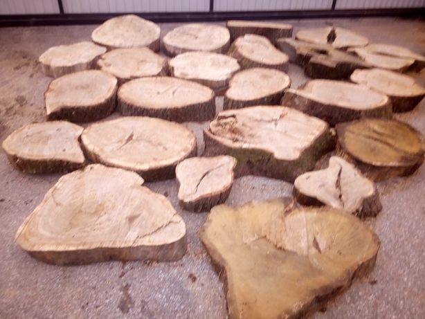 Plastry monolity krążki z drewna dąb , na blaty stoliki