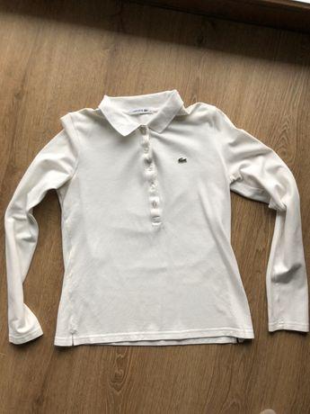 Koszulka la coste biała 38 M z długi rękaw L 40