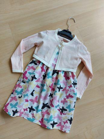 Komplet sukienka F&F i różowe bolerko H&M, 2-3 łatka, 98-104