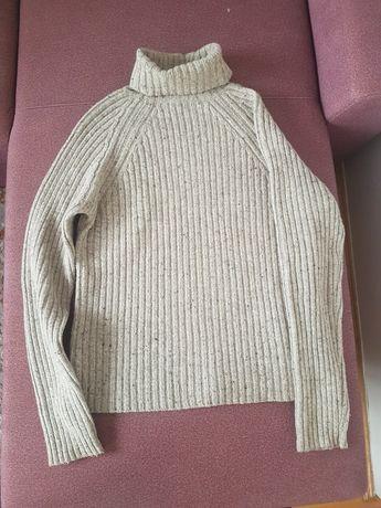 Jak nowy golf Guess, sweter miekka wełna owcza, szary melanż L