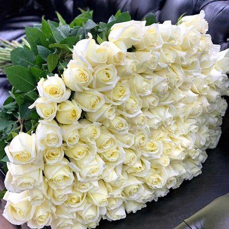 Букет 33 белые розы, букеты, доставка цветов. Подарок любимой