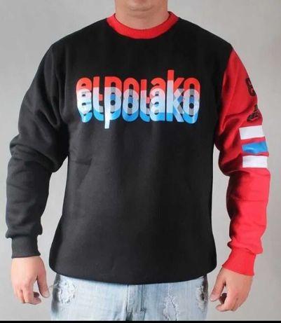 NOWA bluza klasyk El Polako Classic 3L napis 3d czarno czerwona