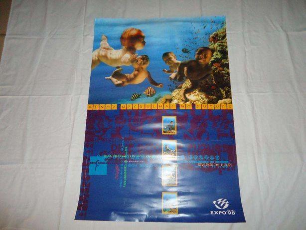 """Expo'98 - Poster """"venha mergulhar no futuro""""."""
