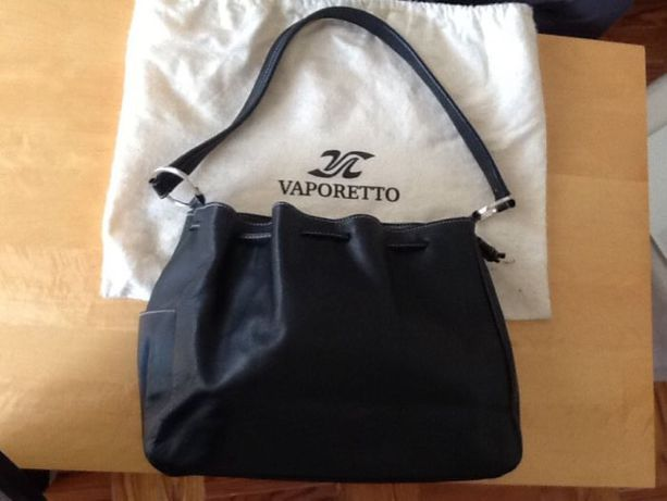 Carteira mala saco de senhora em pele preta Vaporetto