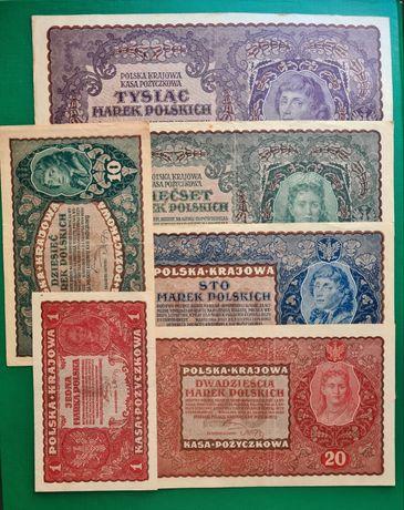 Sprzedam zestaw banknotów Marek Polskich z 1919r, polecam