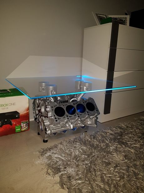 Stolik z bloku silnika V8 Podświetlenie Led!