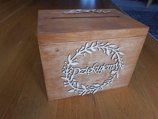 Drewniane rustykalne pudelko na koperty slub boho