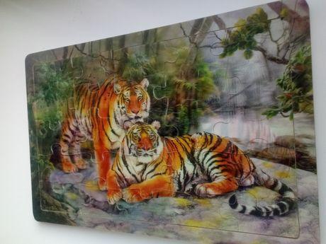 Деревянные пазлы Тигры