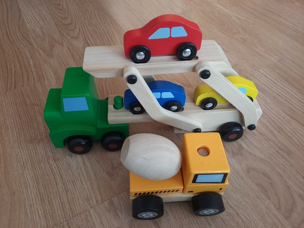 Auto Ciężarówka Laweta z Autkami + Betoniarka Betonowóz Montessori