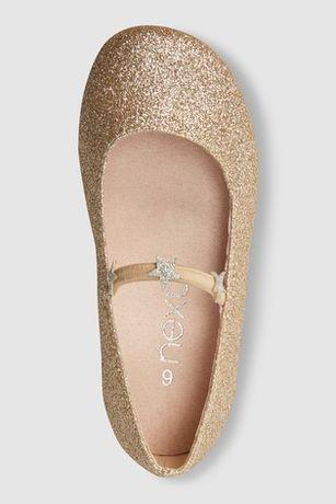Buty balerinki złote brokatowe eleganckie NEXT 25,5 Nowe święta Sesja