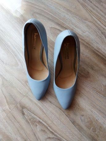 Skórzane czółenka pantofle szpilki r.38 nienoszone