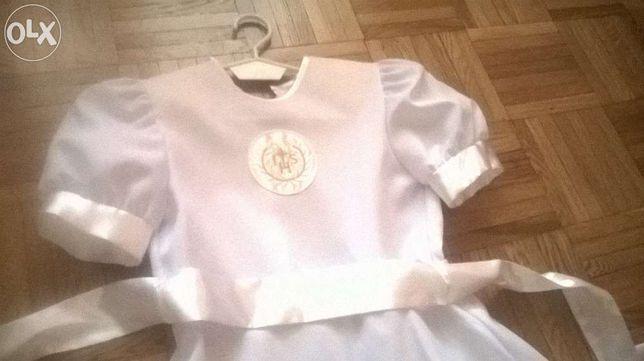 Sukienka komunijna do 1 Komuiio Świętej r 134/140+Gratisy dodatki:-)