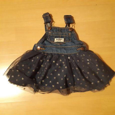 Spódniczka sukienka oshkosh jeansowa w serduszka 62 3m