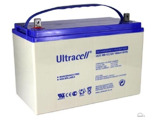 Bateria de Gel Ultracell 12V 100Ah C10 Solar Descarga Lenta 125Ah 100A