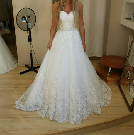 Suknia ślubna 4800 na 550! mocno zdobiona kryształki