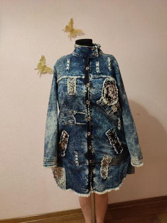Большой размер 50-52-54 джинсовый кардиган, платье сарафан туника