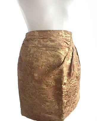 Przepiękna żakardowa złota miedziana spódnica S/M