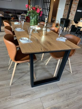 Stół dębowy rozkładany metalowe nogi nowoczesny styl loft