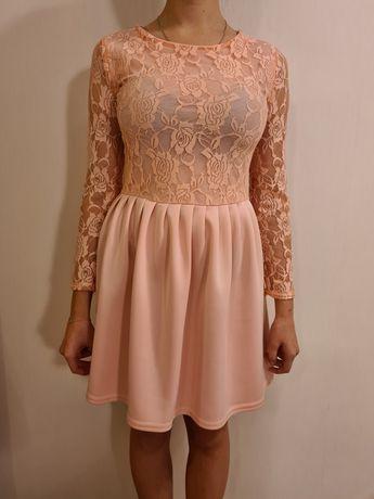 Sukienka różowa rozkloszowana koronkowa roz. S