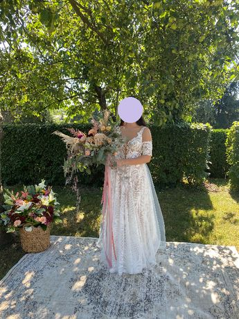 suknia ślubna Agnieszka Światły Ruby + welon + rękawki / opaski boho