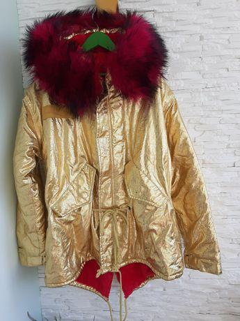 Куртка зимняя парка в золоте.С мехом.