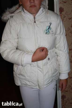 Kurtka biała dziewczęca 128-134