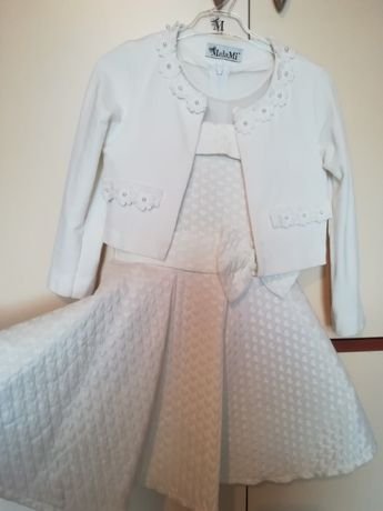 Śliczna kremowa sukienka dla dziewczynki na Komunie, rozm.122-128cm,