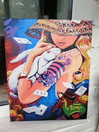 Готовая картина по номерам Алиса в стране чудес нарисованая картина