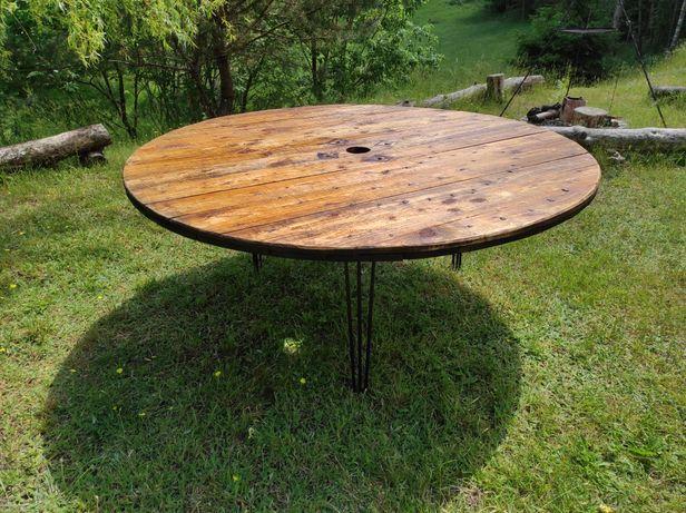 Stół okrągły ze szpuli, loft, bardzo duży, 180 cm, olejowany.