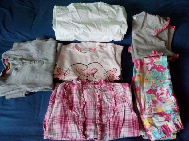 Sprzedam zestaw ubran dla blizniaczek roz.122-128.