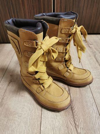 Timberland śniegowce kozaki buty zima 33 beż wodoodporne skóra nubuk