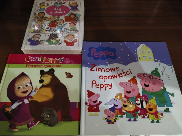 Książki w twardej oprawie: Masza i niedźwiedź, Peppa, Dbam o zdrowie