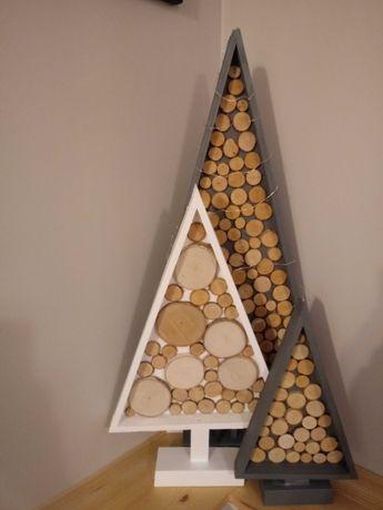 choinka z plastrów drewna*** ozdoby świąteczne