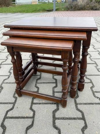 stoliki drewniane dębowe / stoliki trojaczki