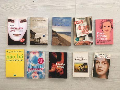 Livros variados: N. Sparks, H. Fielding, Rita Ferro, Karen Blixen, etc