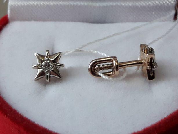 Золотые серьги гвоздики пусеты с бриллиантами