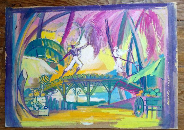 Manuel de Lima  1911/1991 / Pintura sobre cartolina, assinada