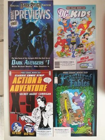 Comics americanos #0 e #1 promocionais raros Marvel, DC, Image, IDW
