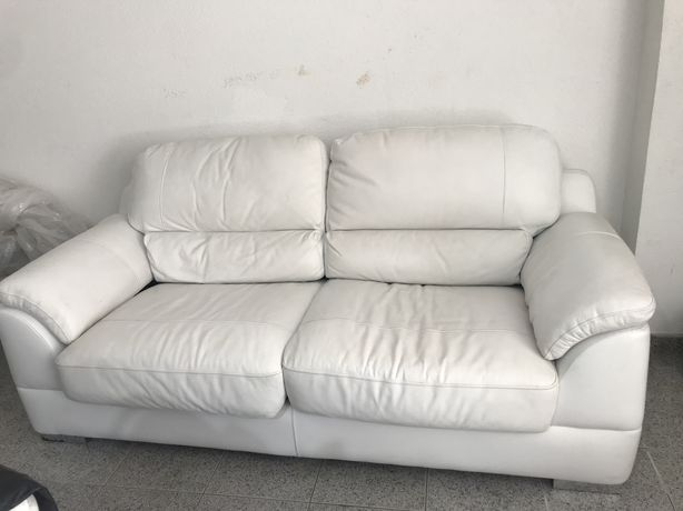 Sofa pele original branca 3 lugar