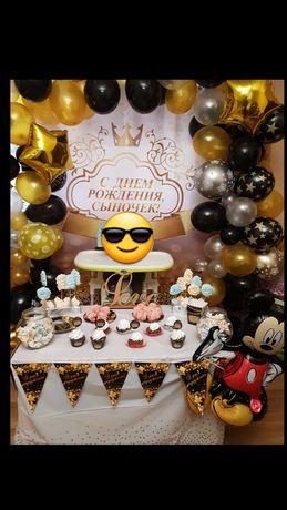Продам Большой Набор фотозона,банер,шары,флажки коробки для попкорна