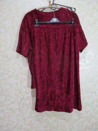Яркий нарядный велюровый костюм/жатка/56-58 р/батал блузка и юбка