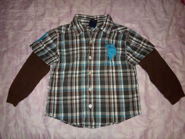 Рубашка с трикотажными рукавами, р. 104-110