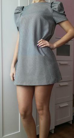 Sukienka ZARA pepitka trapezowa mini babydoll M L bufki bufiasty rękaw