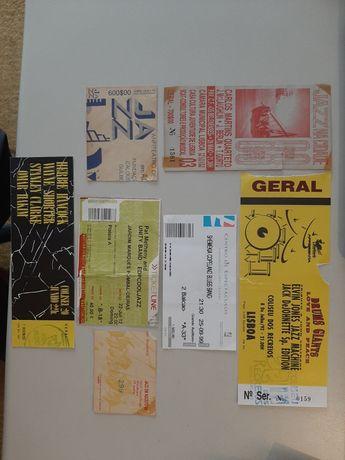 Bilhetes de concertos antigos de Jazz