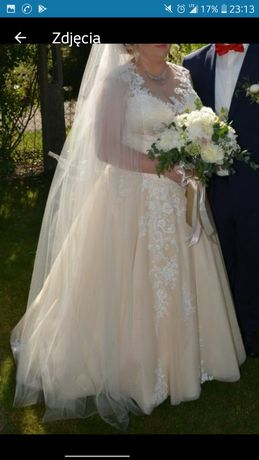 Suknia ślubna łososiowa