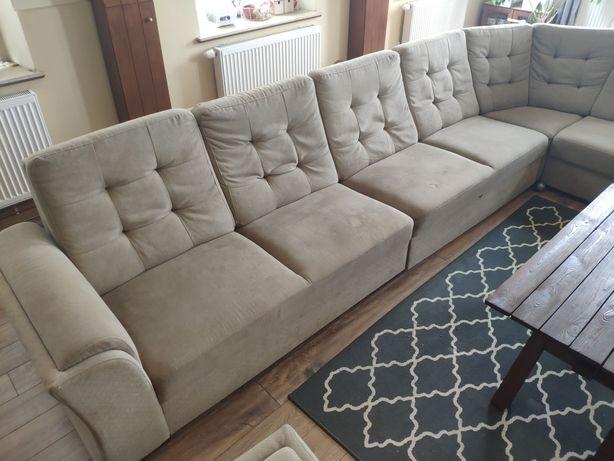 Zestaw - kanapa, fotel, pufa