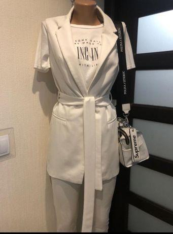 Шикарный длинный белый пиджак жакет кардиган накидка жилетка