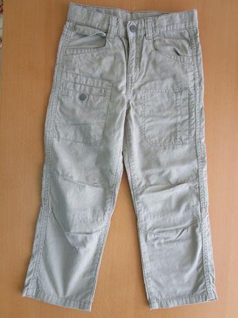 Spodnie beżowe wiosna lato materiał chłopięce chłopiec 110
