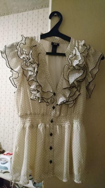 Женская белая блузка в мелкую крапинку-горошек H&M р-р 38